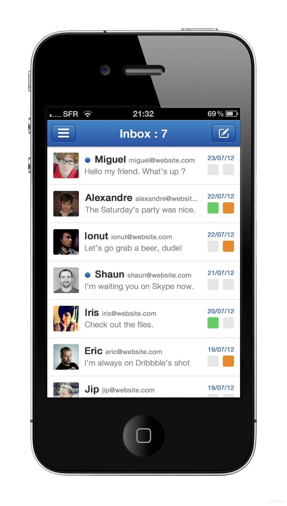 iphone 4s苹果手机应用界面设计 - 蓝蓝设计_ui设计