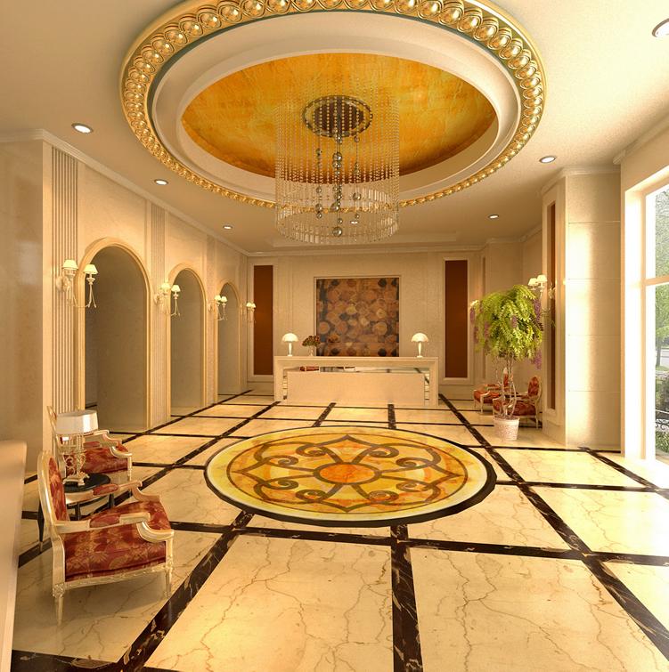 西荣阁酒店大堂3d效果图设计及制作